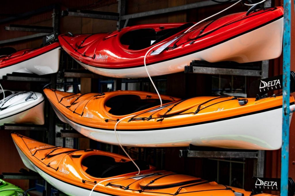 Kayaks stacked up waiting to be used at the Ocean Tribe.