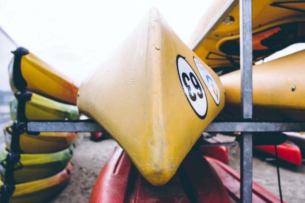 Kayaks stacked up waiting to be used in Sanibel Island