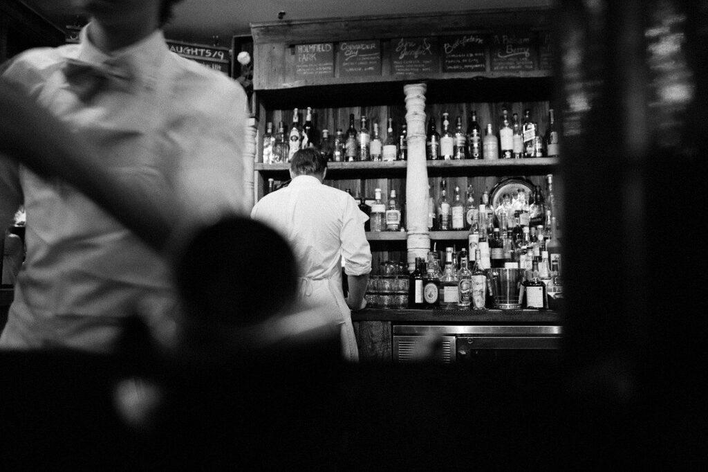 bar scene in black and white